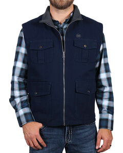 American Worker Men's Navy Fleece Lined Canvas Vest , Navy, hi-res
