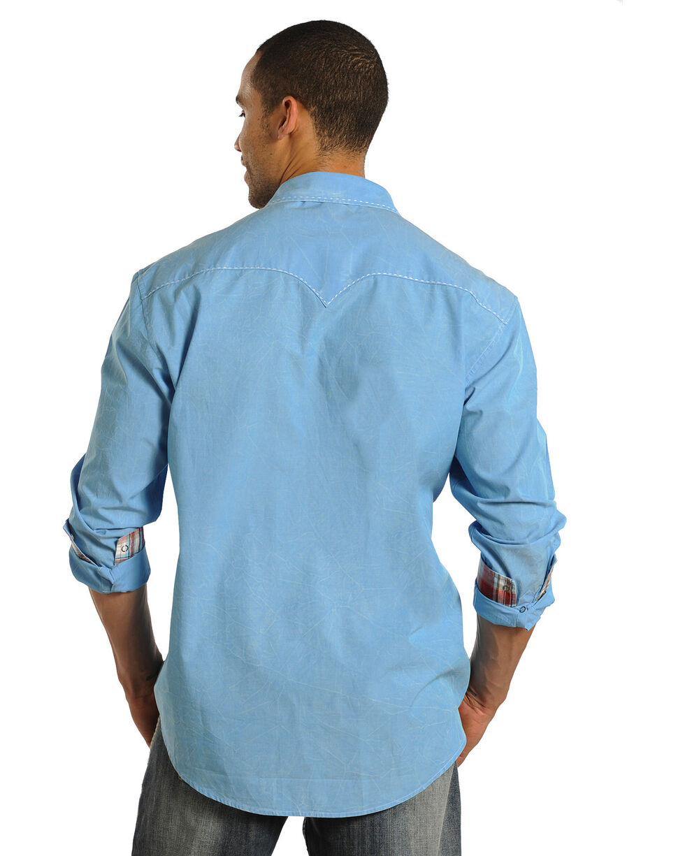 Rock & Roll Cowboy Men's Blue Mineral Wash Long Sleeve Shirt, Turquoise, hi-res