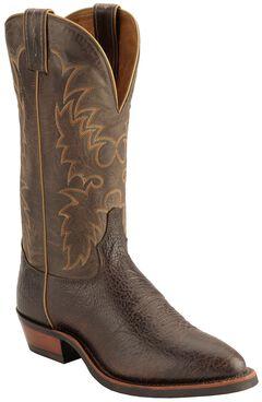Tony Lama Americana Conquistador Shoulder Cowboy Boots - Round Toe, Java, hi-res