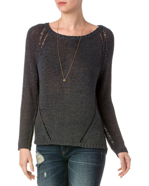 Miss Me Women's Charcoal Distressed Raglan Sleeve Sweater , Charcoal, hi-res