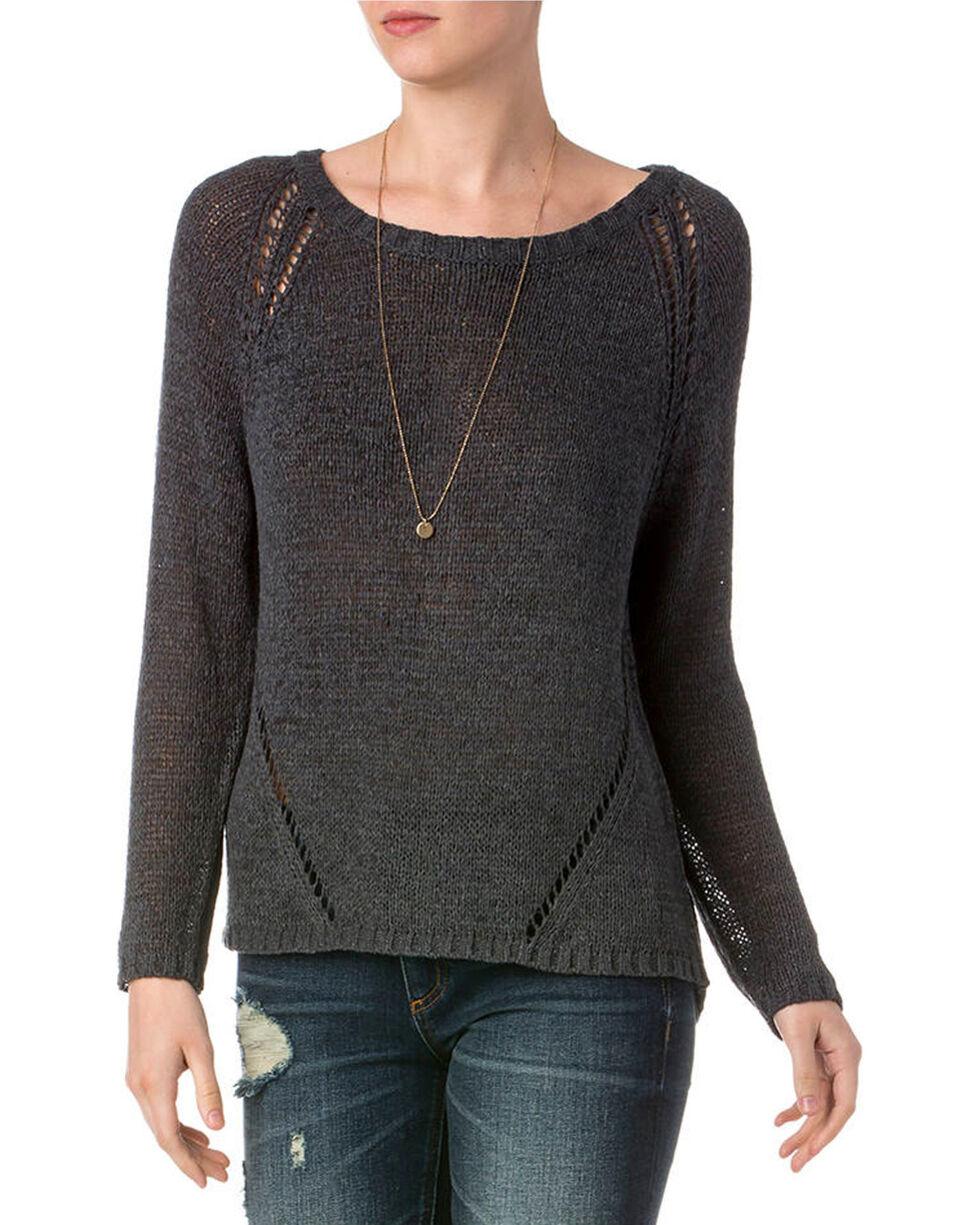 Miss Me Women's Charcoal Distressed Raglan Sleeve Sweater , Charcoal, hi-res
