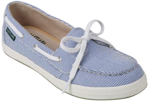Eastland Women's Blue Stripe Canvas Skip Boat Shoe Slip-Ons , Blue, hi-res