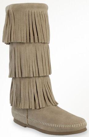 Minnetonka Women's Calf Hi 3-Layer Fringe Boots, Stone, hi-res
