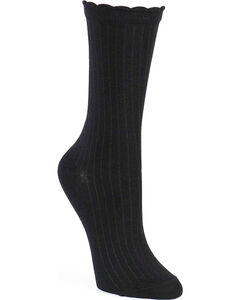 Shyanne Women's Scallop Crew Socks , Black, hi-res