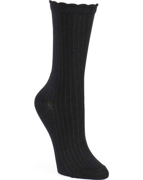 Shyanne Women's Scallop Crew Socks , Black, hi-res