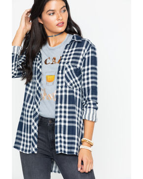 Wrangler Women's Modern Plaid Shirttail Boyfriend Shirt , Navy, hi-res
