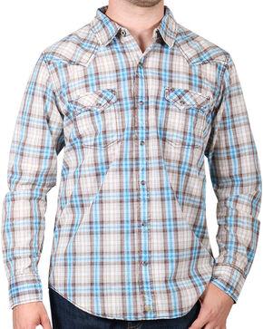 Cody James® Men's Vintage Plaid Long Sleeve Shirt, Tan, hi-res