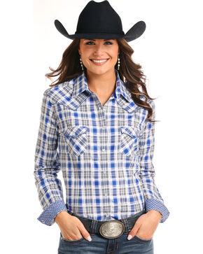 Rough Stock by Panhandle Women's Blue Plaid Western Shirt, Blue, hi-res