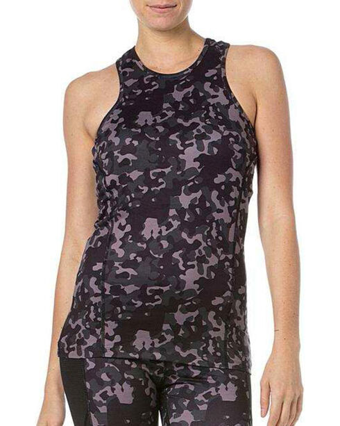 Miss Me Women's Camo Sheer Back Active Tank, Grey, hi-res