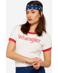 Wrangler Women's 70th Anniversary Red Retro Kabel Logo Ringer Tee, Red, hi-res