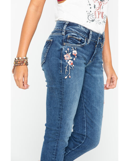 Silver Women's Indigo Elyse Floral Embroidered Jeans - Skinny , Indigo, hi-res
