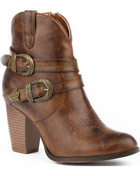 Roper Women's Maybelle Burnished Brown Belted Short Western Boots - Round Toe, Brown, hi-res