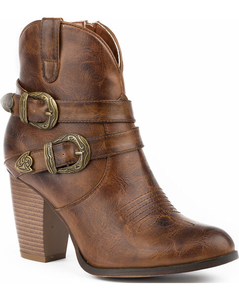 Roper Women's Maybelle Burnished Brown Belted Short Western Boots - Round Toe, , hi-res