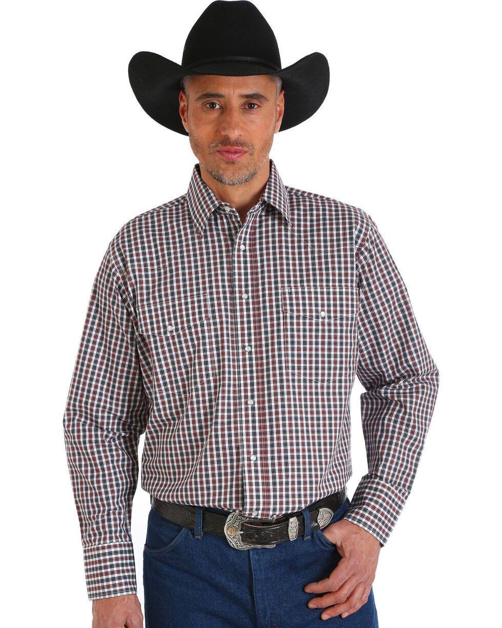 Wrangler Men's Wrinkle Resistant Brown Plaid Western Snap Shirt, Brown, hi-res