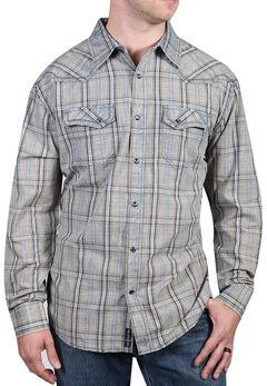 Moonshine Spirit Men's Trigger Plaid Long Sleeve Shirt, Grey, hi-res