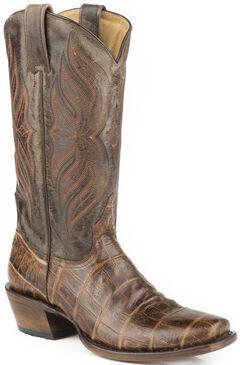 Roper Faux Croc Belly Print Cowboy Boots - Square Toe, Brown, hi-res