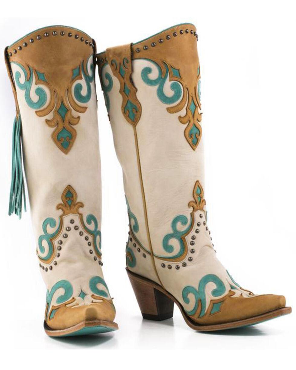 Lane Women's Royal Fringe Boots - Snip Toe , Cream, hi-res