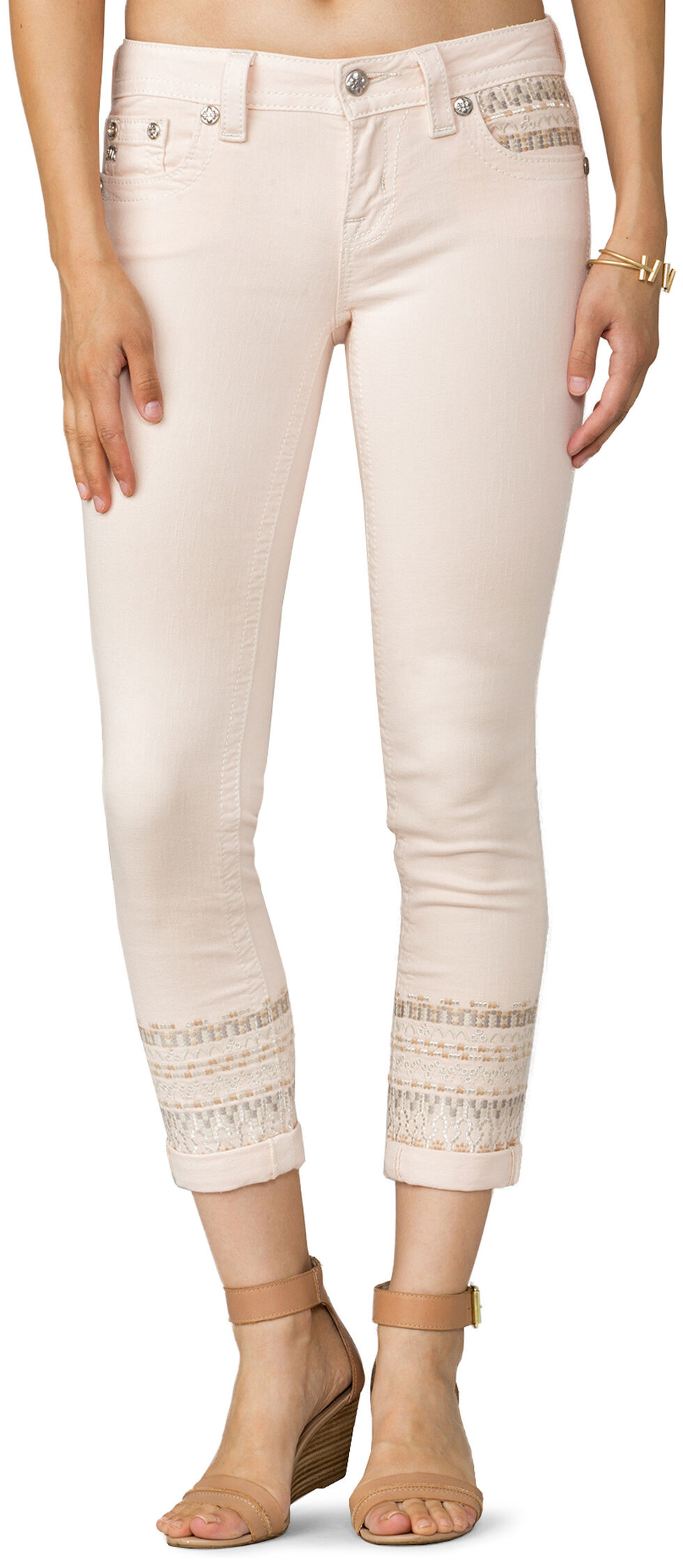 Miss Me Women's Boho Dreams Mid-Rise Ankle Skinny Jeans, Pink, hi-res