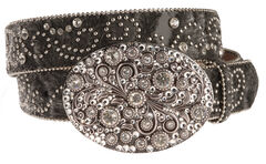 Nocona Hair-On-Hide Embellished Buckle Belt, Black, hi-res