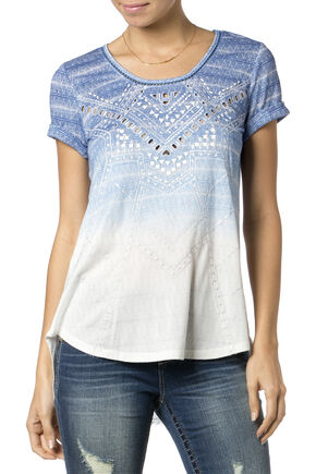 Miss Me Laser Cut Ombre Top, Blue, hi-res
