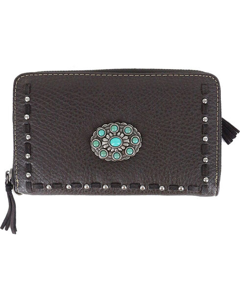 Shyanne Women's Coffee Turquoise Concho Leather Wallet , Taupe, hi-res