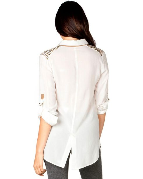 Miss Me Shoulder Embellished Woven Top, Off White, hi-res
