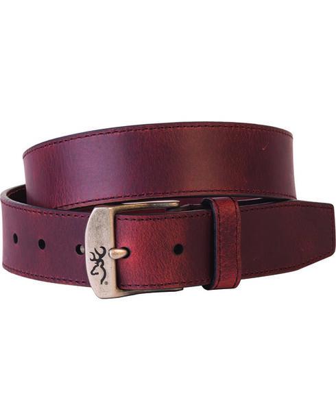 Browning Men's Basic Brown Buckmark Buckle Belt, Brown, hi-res
