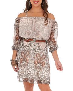 Wrangler Women's Brown Paisley Cold Shoulder Dress , Brown, hi-res