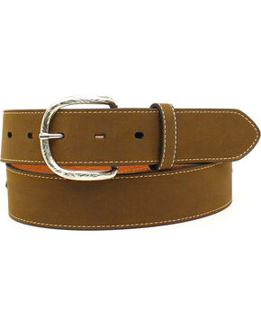 Nocona Men's Top Hand Scalloped Overlay Belt , Brown, hi-res