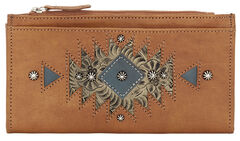 American West Women's Tan Foldover Snap Closure Wallet , , hi-res