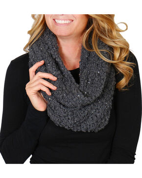 Shyanne Women's Sequin Infinity Scarf , Charcoal, hi-res