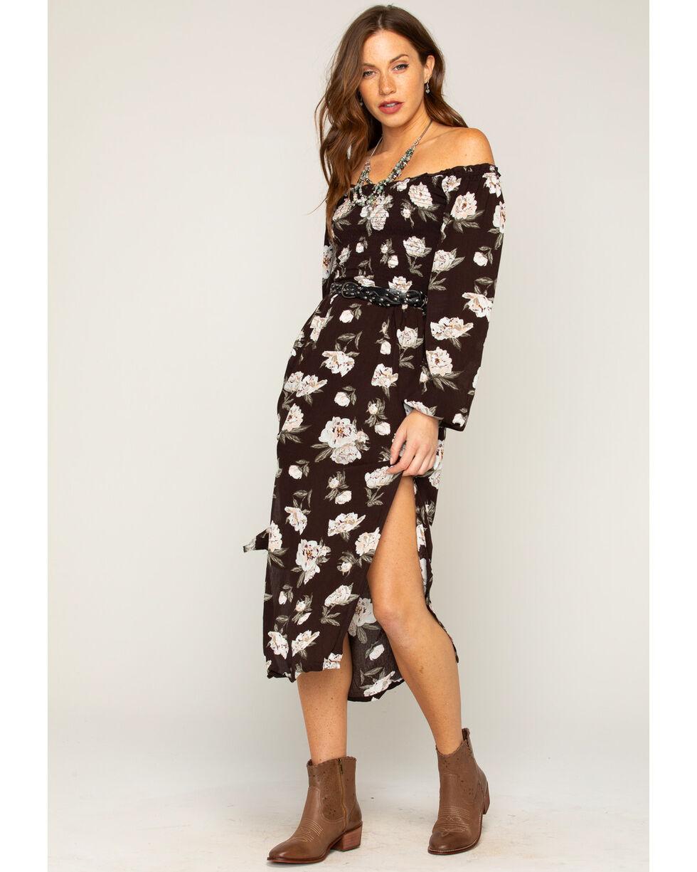 Shyanne® Women's Floral Off The Shoulder Maxi Dress    , Black, hi-res