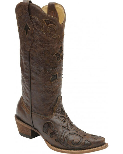 Corral Women's Vintage Lizard Inlay Cowgirl Boots - Snip Toe, Chocolate, hi-res