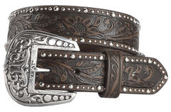 Ariat Tooled & Studded Leather Belt, , hi-res