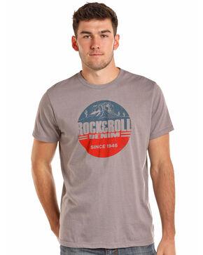 Rock & Roll Cowboy Men's Desert Scene Logo T-Shirt, Grey, hi-res
