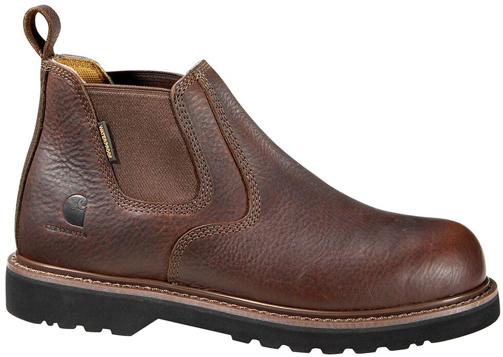"Carhartt 4"" Twin Gore Romeo Work Shoes - Safety Toe, Dark Brown, hi-res"