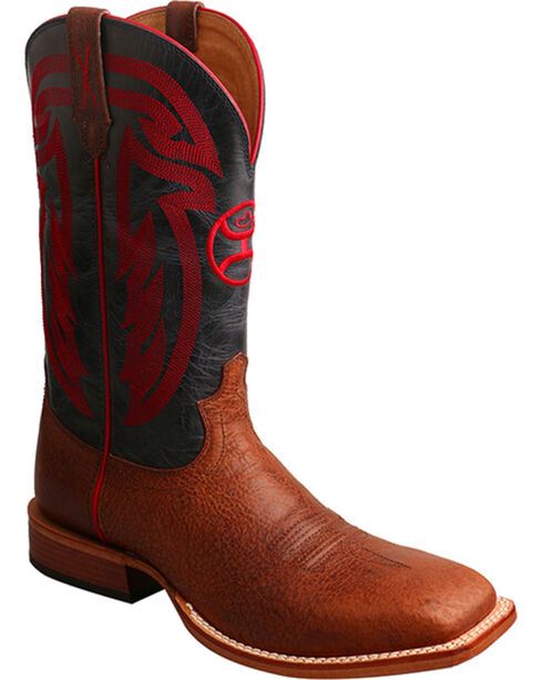 Hooey by Twisted X Men's Brown with Red Embroidery Boots - Square Toe , Brown, hi-res