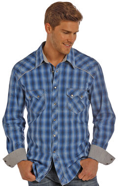 Rock & Roll Cowboy Men's Blue Satin Ombre Plaid Shirt , , hi-res