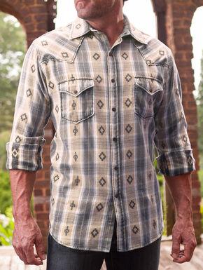 Ryan Michael Men's Rattan Large Aztec Dobby Plaid Shirt , Natural, hi-res