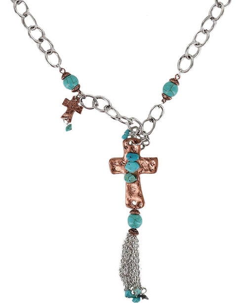 Shyanne Women's Rose Gold and Turquoise Cross Nacklace, Multi, hi-res