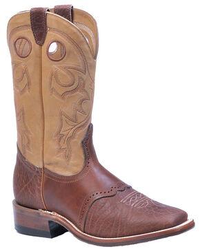 Boulet Saddle Vamp Cowboy Boots - Square Toe, Cognac, hi-res