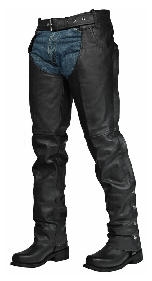 Interstate Leather Rock Riding Chaps - 4XL, Black, hi-res