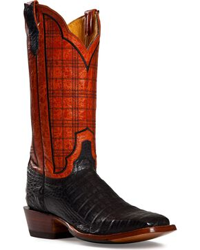 Cinch Black Caiman Stained Glass Embroidered Cowgirl Boots - Square Toe, Black, hi-res
