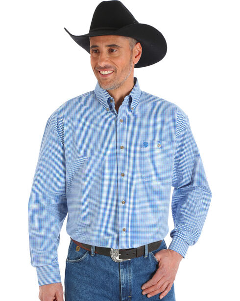 Wrangler George Strait Men's Blue Poplin Plaid Button Shirt, Blue, hi-res