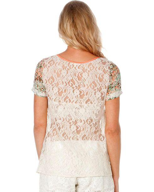 Miss Me Floral Print Lace Back Top, Multi, hi-res