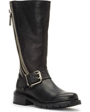 Frye Women's Black Samantha Zip Tall Boots - Round Toe , Black, hi-res