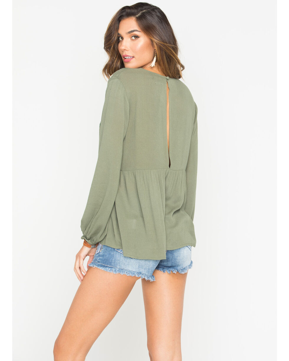 Miss Me Women's Olive Authentic Love Top, Green, hi-res