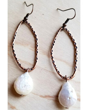 Jewelry Junkie Women's White Freshwater Pearl Coin Earrings , White, hi-res