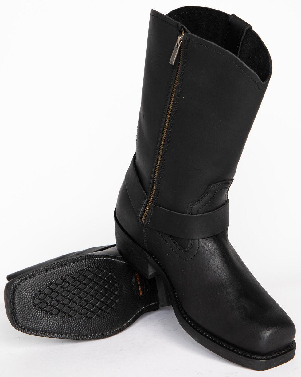 Cody James Men's Zipper Harness Motorcycle Boots - Square Toe, Black, hi-res
