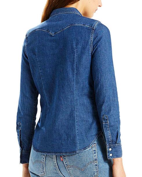Levi's Women's Denim Western Shirt, Blue, hi-res